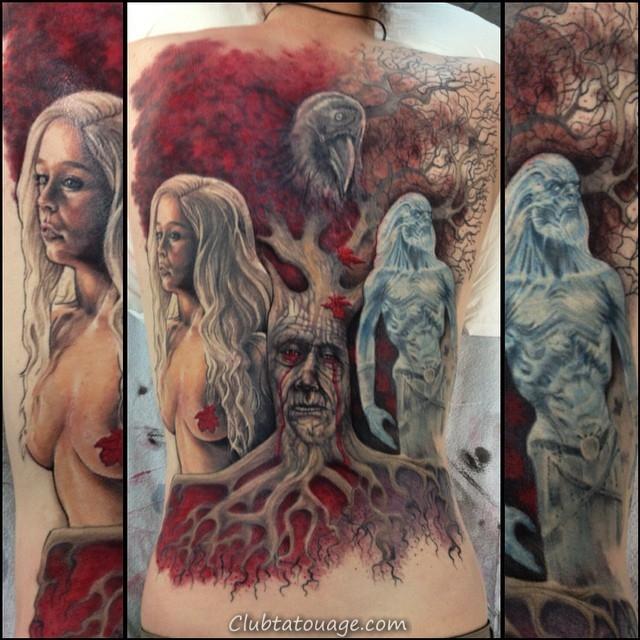 impressionnant jeu de tatouages des trônes