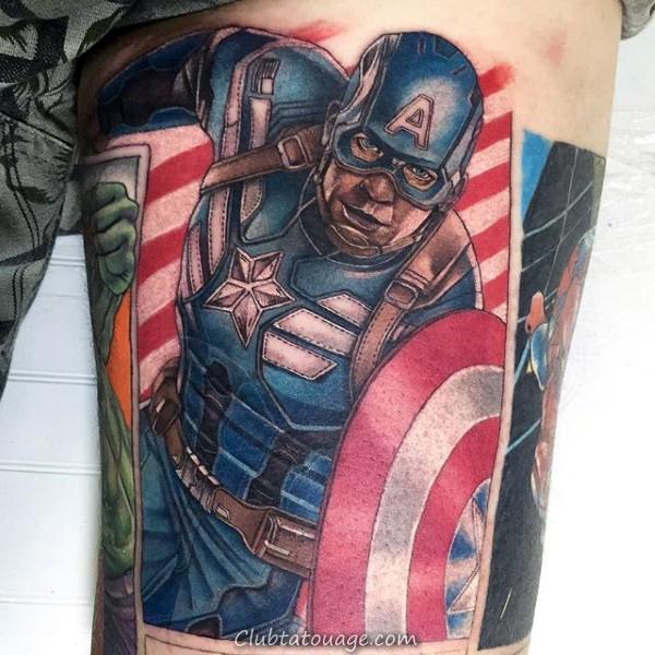 Upper Arm Superhero Captain America Guys Tattoo Ideas