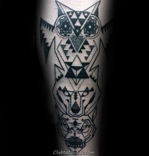 triangulaire Homme géométriques Loup Leg Calf Tatouages