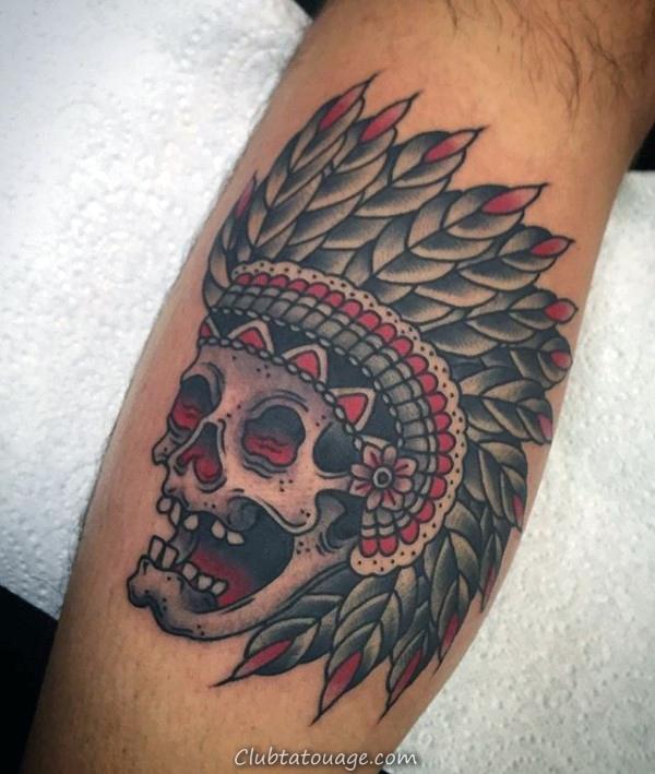indiens Crâne Hommes Jambe veau tatouage idées traditionnelles