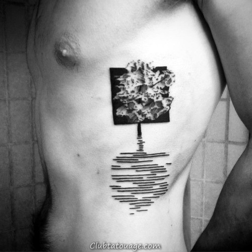 Arbre Soundwave Ombre Cage thoracique Side Tatouages