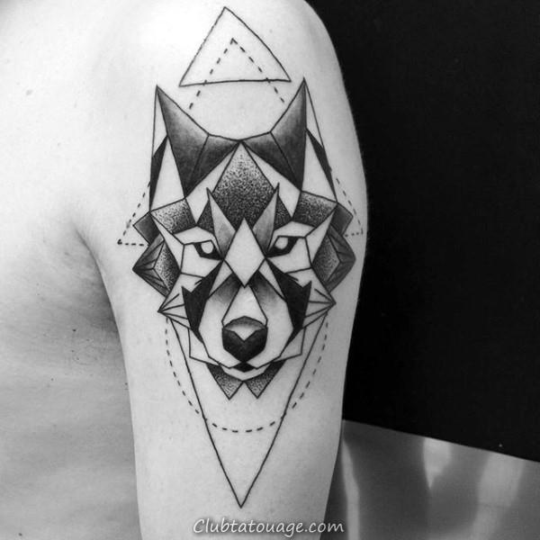 Upper Arm Triangle Et Cercle géométrique Loup Tatouages pour les gars