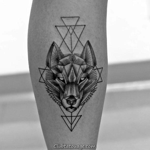 Upper Chest Agressive géométrique Loup Mens Contour Tatouages