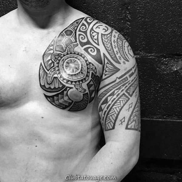 tortue Avec Pierres précieuses sur Shell Rib Cage Side Tatouages Pour les hommes