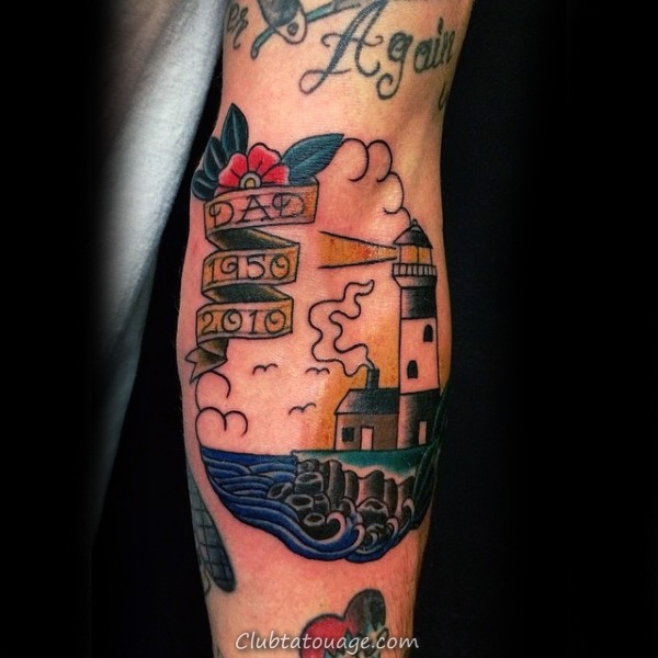 Pour papa Tribute Et Phare Tattoo Homme Avant-bras