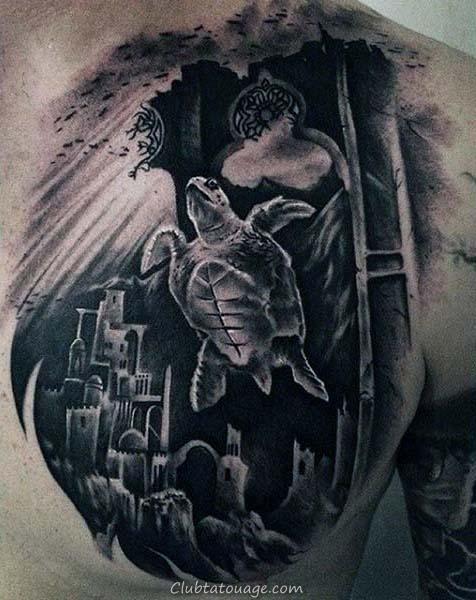 Bras Hommes Résumé circulaires tortue tatouage idées