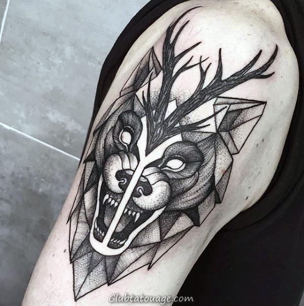 Aquarelle Lignes géométriques Loup Homme Rib Cage Side Of Tatouages Body