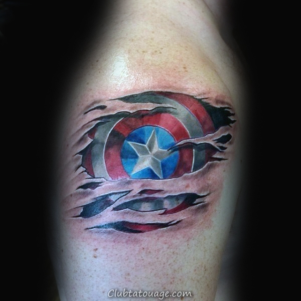 Aquarelle Half Captain America Half Bouclier Leg Calf Tattoo Male