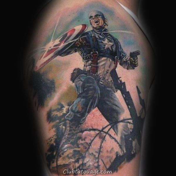 width Aquarelle Superhero Mens Captain America Arm Tattoo