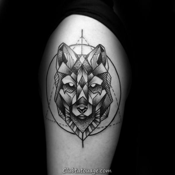 Aquarelle Homme géométrique Loup Arm Tattoo