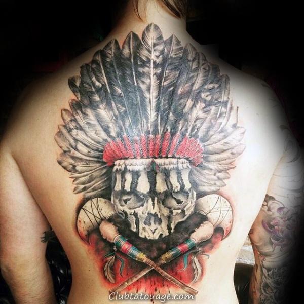Aquarelle de tatouage de crâne indien Pour les hommes sur le dos