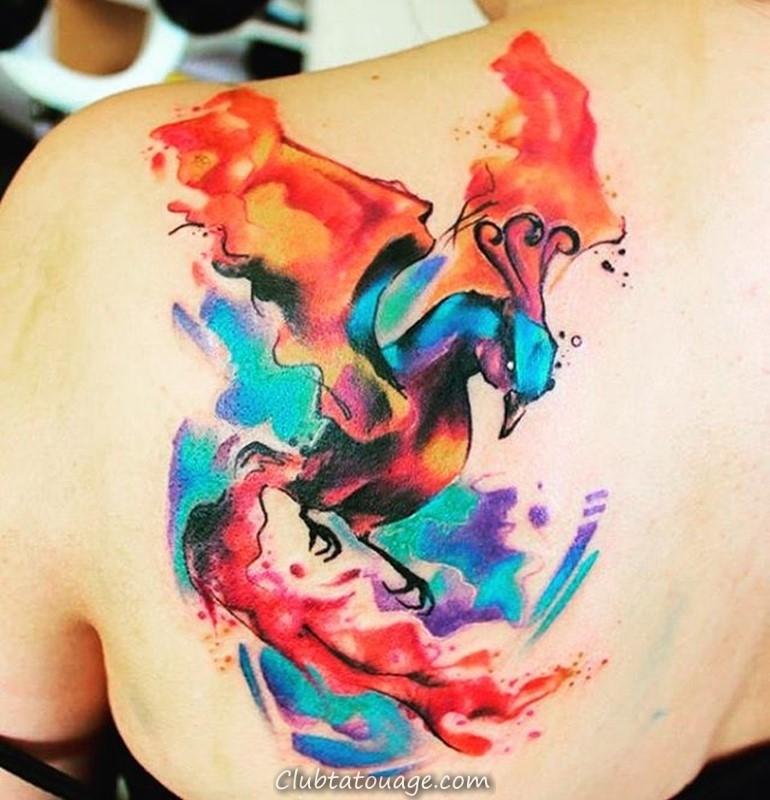 width aquarelle phoenix tatouage