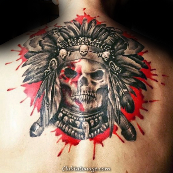Aquarelle Red éclaboussure de peinture Hommes haut du dos indiens Skull Tattoos