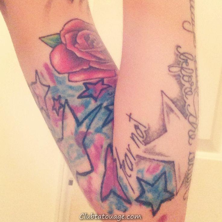 étoiles aquarelle Tie dye tatouage