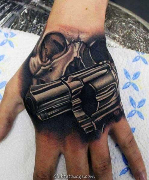 main Hommes 3d réaliste Crâne Revolver Tatouages 