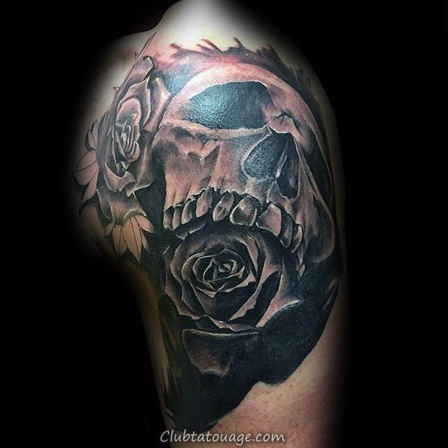 Crâne noir 3d Rose bras Homme Tatouages