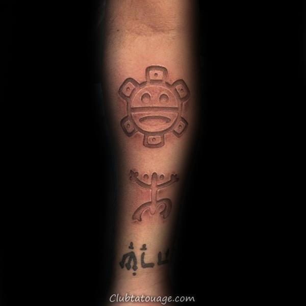 3d Taino Homme tatouage sur les avant-bras intérieurs