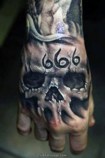 666 Tattoo Skull main Mens Designs