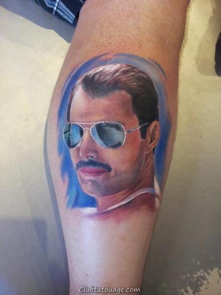 tatouage réaliste de Freddie Mercury 1