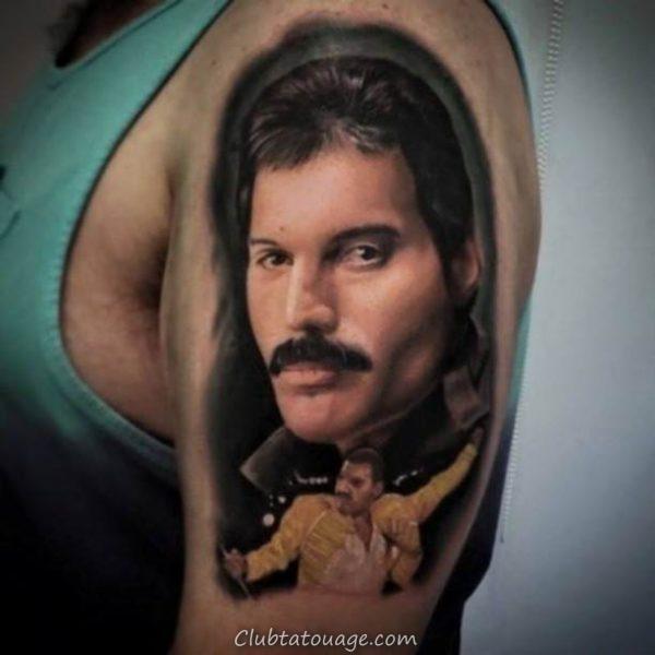 tatouage réaliste de Freddie Mercury 6