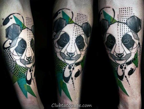 Résumé Creative Panda noir et encre verte Forearm Tatouages Pour les hommes