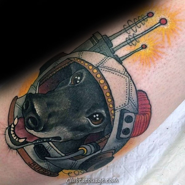 Résumé Dog Memorial Astronaut Tattoo Design Ideas