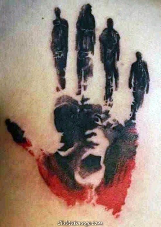 Résumé Personnes Walking Handprint Mens Retour Tattoo