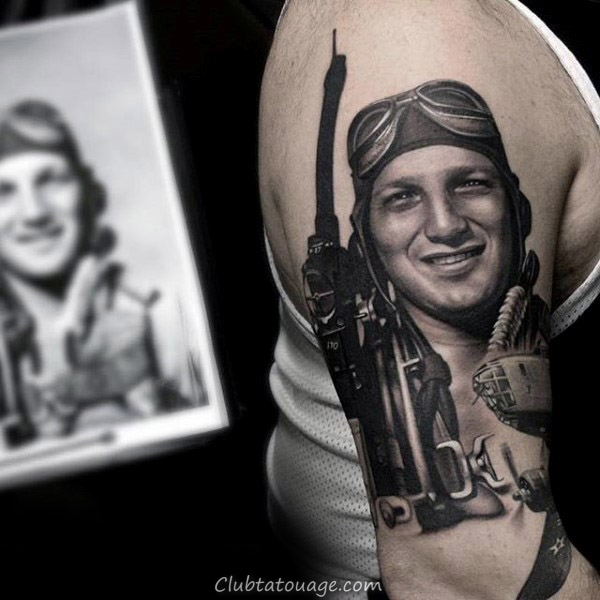3d Guys réalistes Memorial Military Tattoo Vétéran incroyable sur Upper Arm