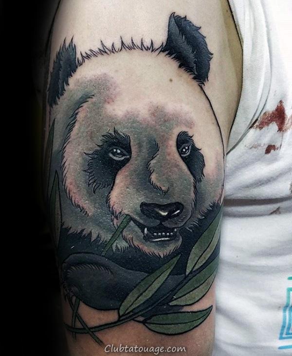 Amazing Mens Neo Panda Bear Traditionnel Avec Vert Tattoo Branch