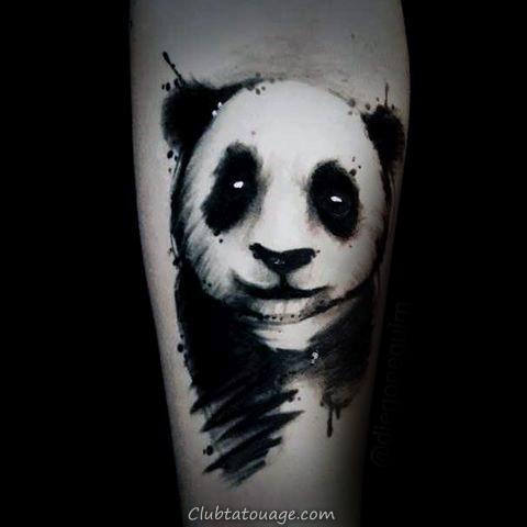 Amazing Panda Aquarelle Tattoo pour les gars sur Inner Forearm
