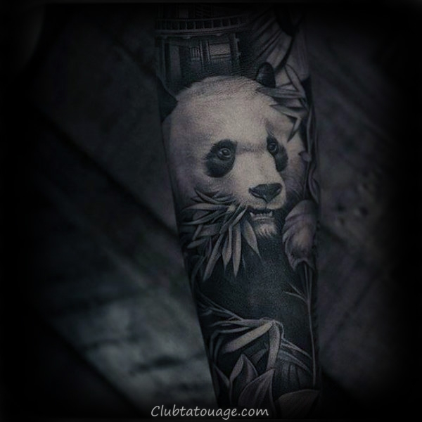 Amazing Réaliste Panda Guys manches Tattoo Design Ideas