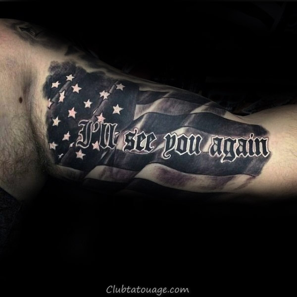 Drapeau américain See You Again Lettrage Guys Memorial Inner Arm Tattoo Design Ideas