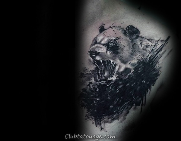 Angry Panda Hommes supérieurs Chest Aquarelle Tattoos