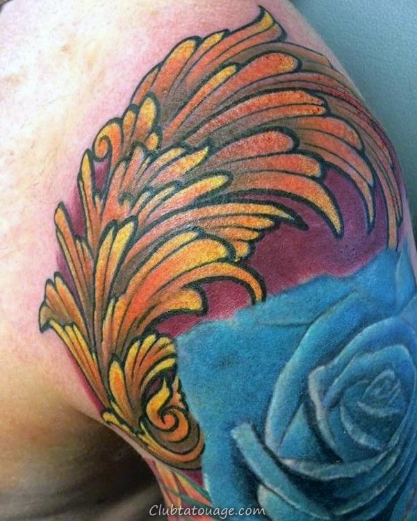 Orange Filigrane Tattoo Impressionnant Mens Avec Blue Rose Fleur sur Upper bras et l'épaule