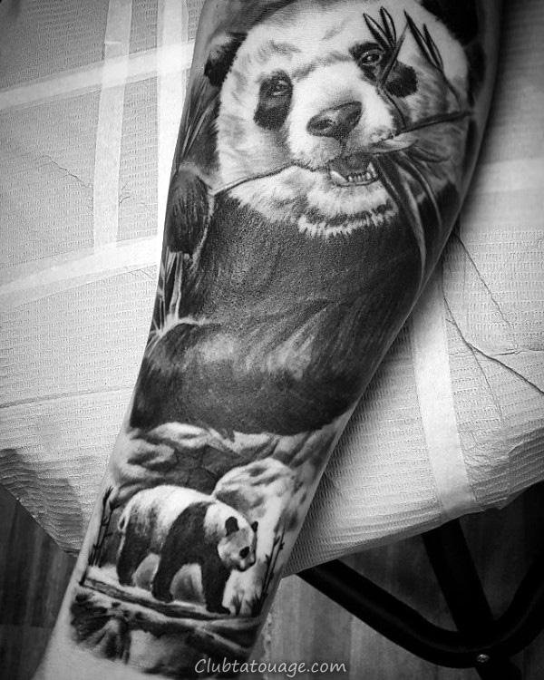 Mens impressionnant réaliste Panda Tatouages manches