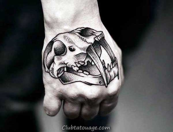 Awesome Hommes Crâne d'animal main Tatouages ​​