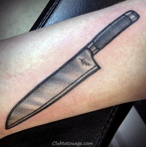 Awesome Tattoo Couteau de chef Petit Forearm Mens