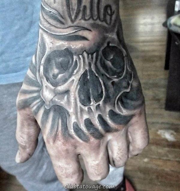 impressionnant Shaded Hommes main Tatouages Crâne
