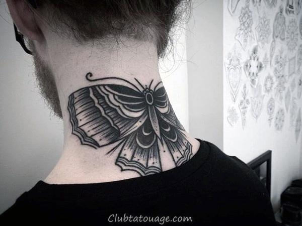 en dessous du genou Hommes moth Tattoos