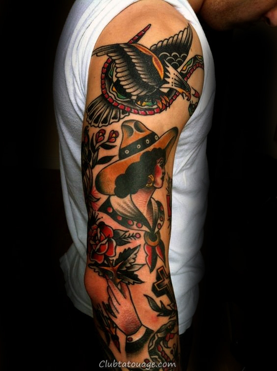 Eagle chauve traditionnel Homme plein bras manches Tattoo Ideas