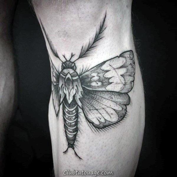 noir et gris Moth Hommes supérieurs poitrine Tatouages 