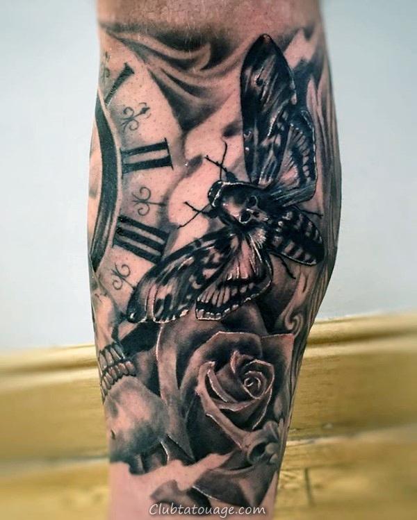 width de tatouage d'encre noire Dotwork Guys Moth Outer Forearm