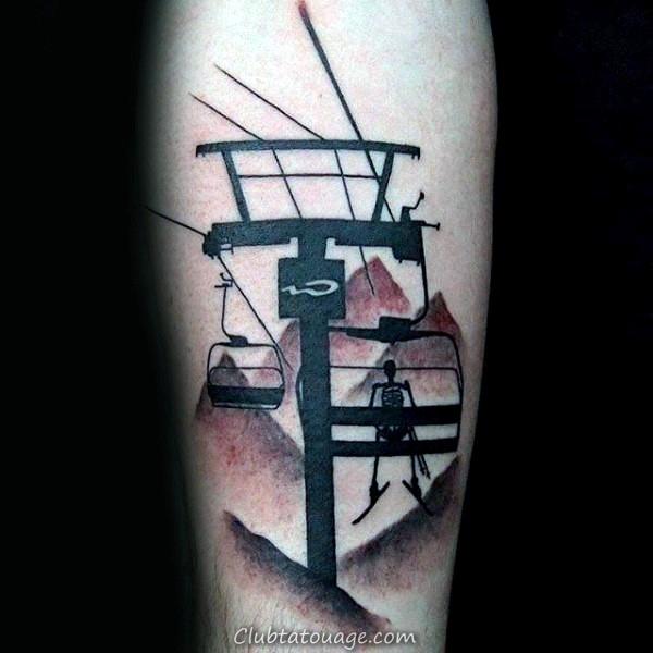 encre noire et rouge Skeleton Le président Lift Guys Ski Tattoo