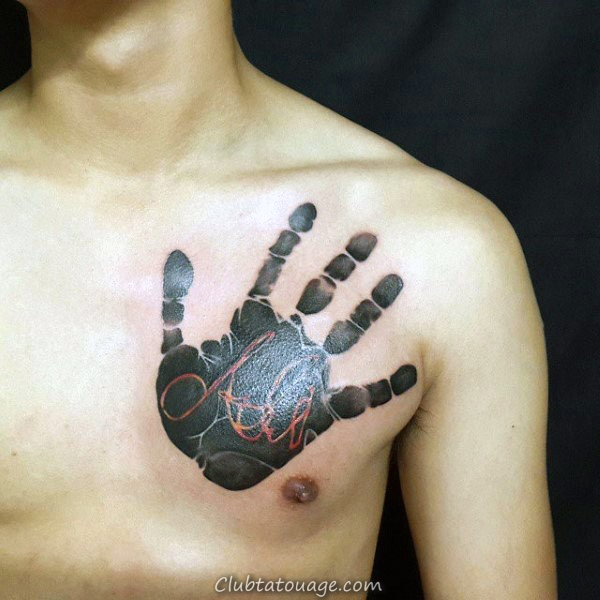 Black Ink Handprint à l'encre rouge Nom Mens Chest Tatouages