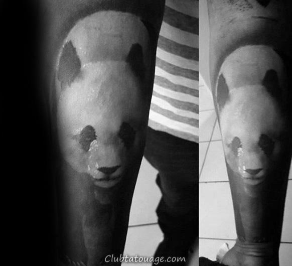 encre noire très Shaded Panda Forearm Tattoos For Men