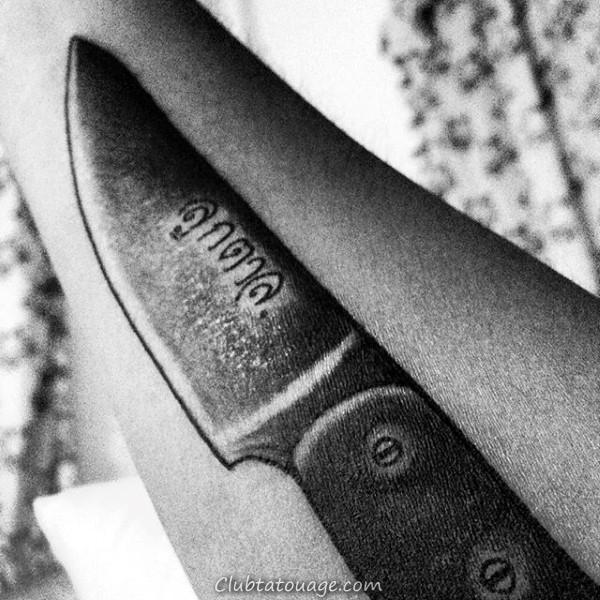 width de tatouage d'encre noire Shaded Couteau de chef Guys