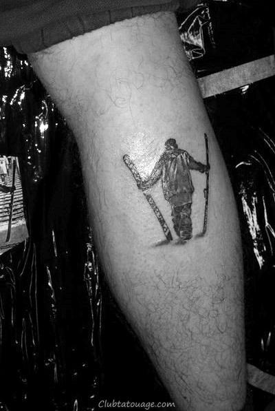 Black Ink Silhouette Ski Mens Back Of Leg Calf Tattoo