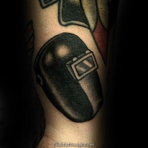 Blue Ink Guys Welding Tattoo Biceps Avec Volant Sparks Design