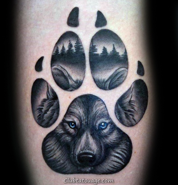 Tattoo Blue Eyed Loup Paw Mens Arm Designs