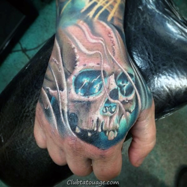 Tattoo Bleu Glowing Skull Homme main Designs